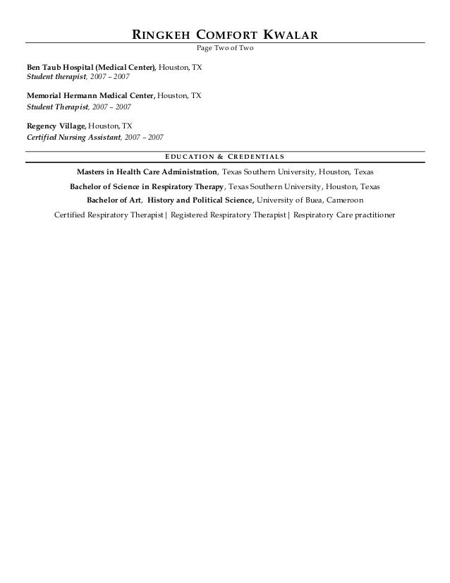 Rt Versus Quality Healthcare Resume