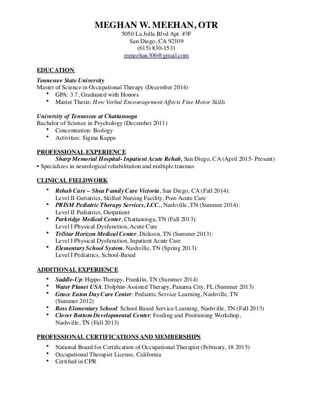 Occupational Therapy Resume 2016