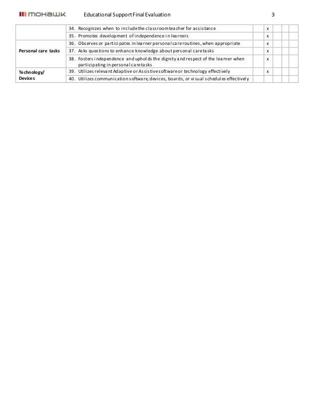 Educational SupportFinal Evaluation 3 34. Recognizes when to includethe classroomteacher for assistance x 35. Promotes dev...