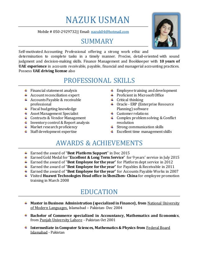 Nazuk senior accountant resume with 10 yrs of uae exp thecheapjerseys Choice Image