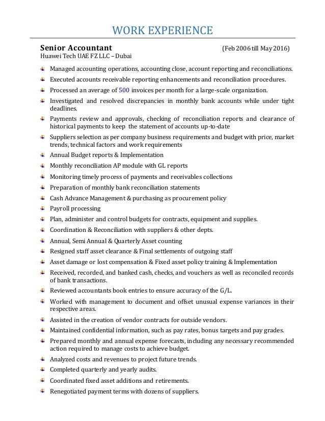 ... Pakistan; 2. WORK EXPERIENCE Senior Accountant ...  Senior Accountant Resume