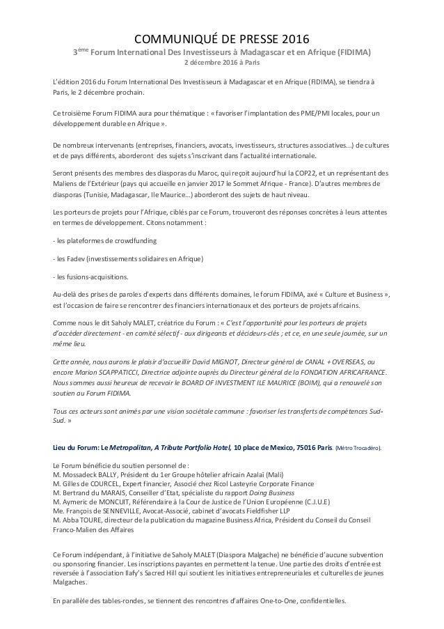 COMMUNIQUÉ DE PRESSE 2016 3ème Forum International Des Investisseurs à Madagascar et en Afrique (FIDIMA) 2 décembre 2016 à...