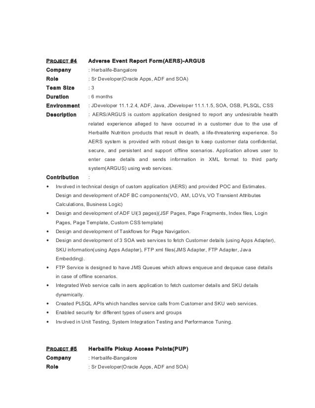 Custom developer form oracle report resume