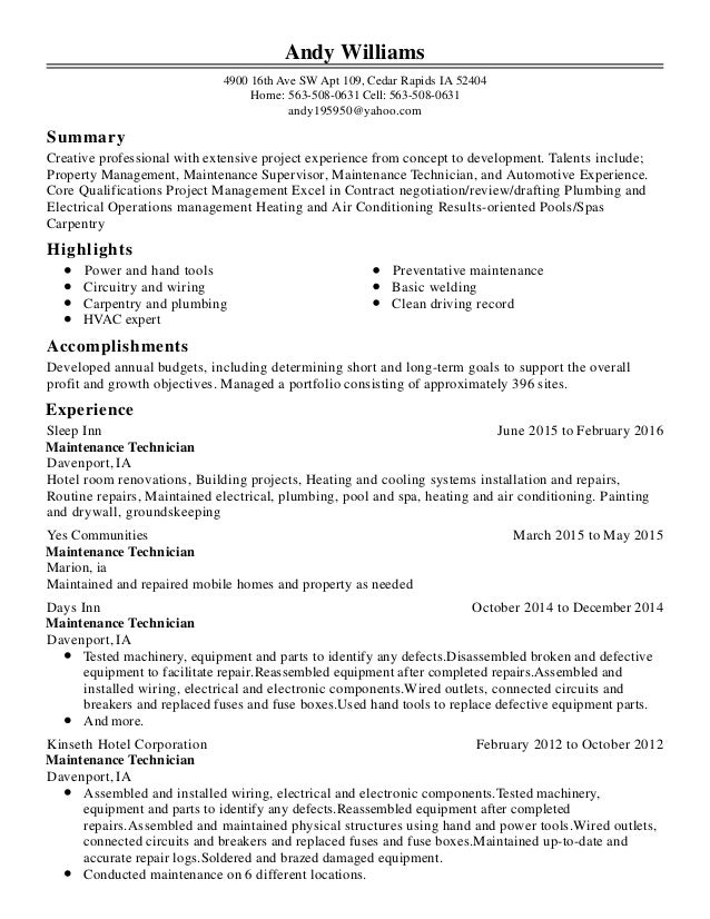 andy williams resume 1 1
