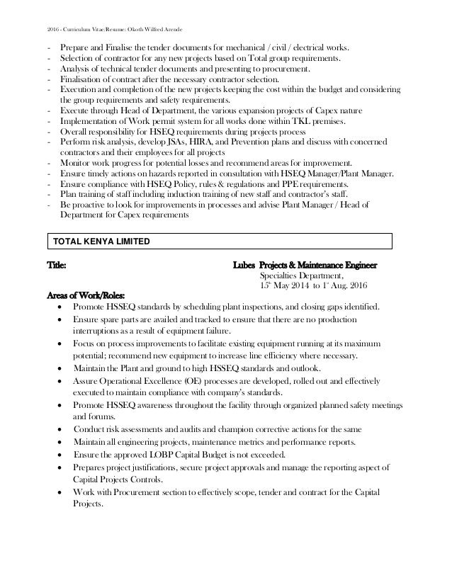 TOTAL KENYA LIMITED; 2.  My Cv Resume