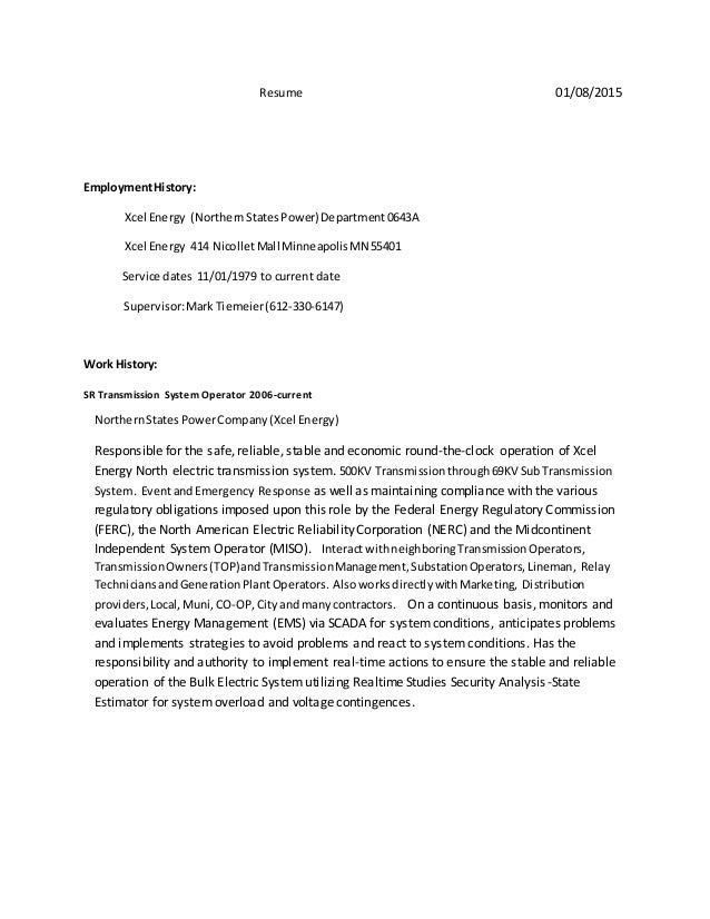Beautiful Excel Energy Resume Component - Administrative Officer ...