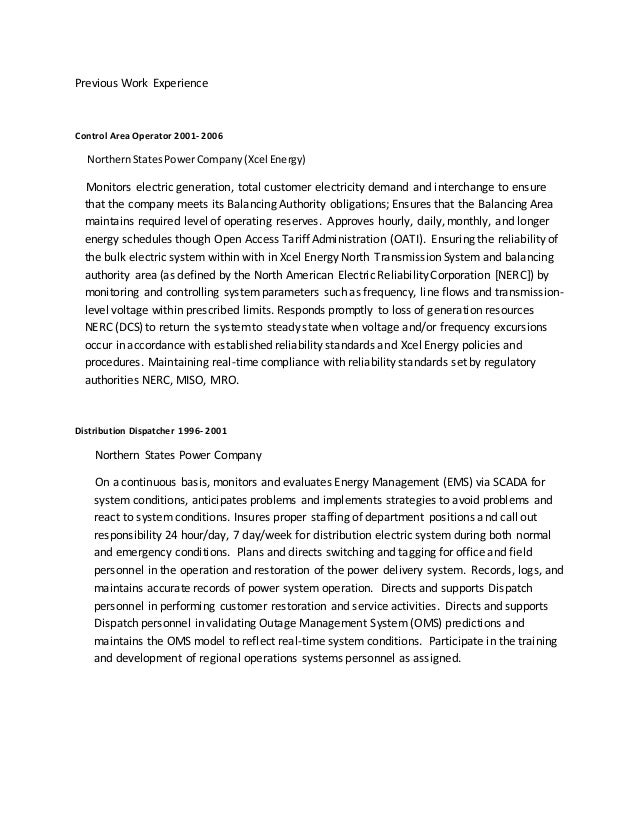Magnificent Xcel Energy Resume Mn Composition - Administrative ...