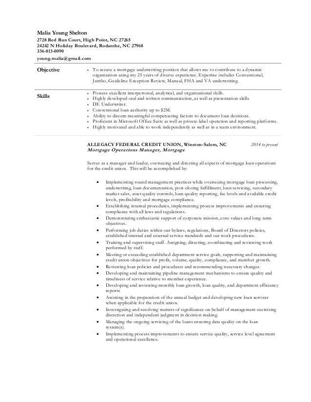 Processor Resume Sainde Org Sample Underwriter Mortgage