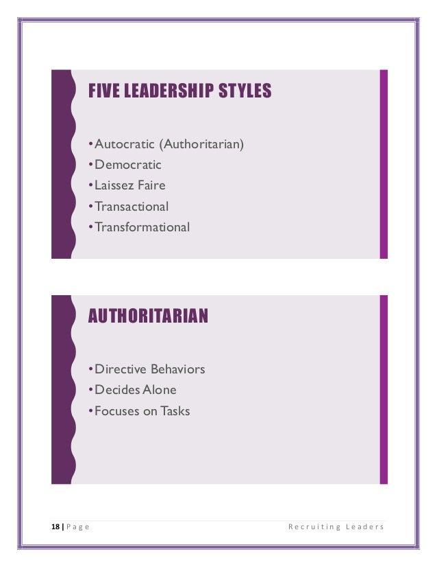 18 | P a g e R e c r u i t i n g L e a d e r s FIVE LEADERSHIP STYLES •Autocratic (Authoritarian) •Democratic •Laissez Fai...