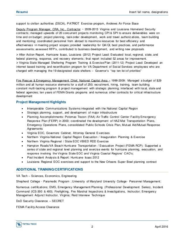Fema professional development series resume