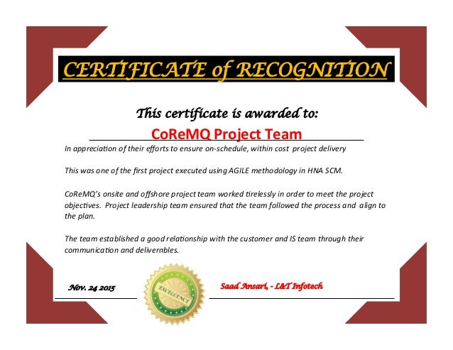 Certificate Of Recognition For Coremq Project