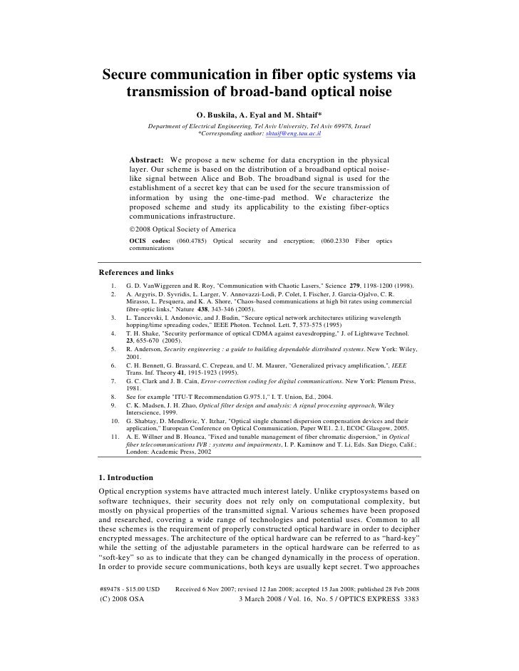 Secure communication in fiber optic systems via     transmission of broad-band optical noise                              ...