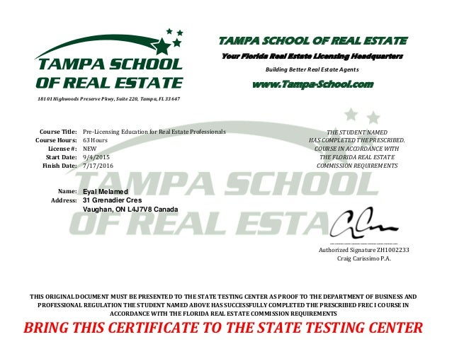 Completion Certificate Real Estate Prelicense
