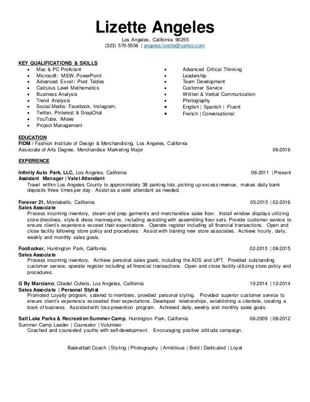 Angeles resume front desk clerk job description resume