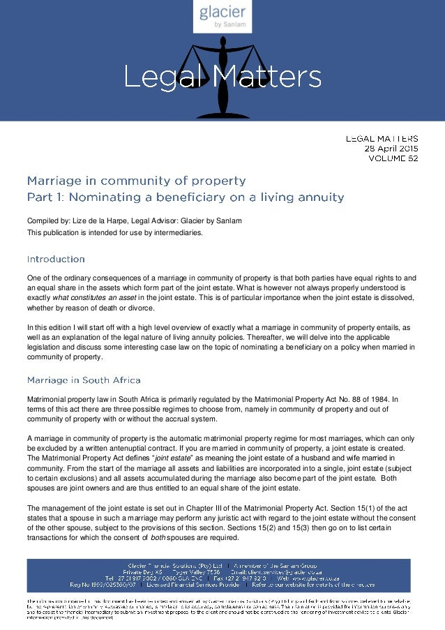 Legal Matters Marriage In Community Of Property Part 1 Nominating