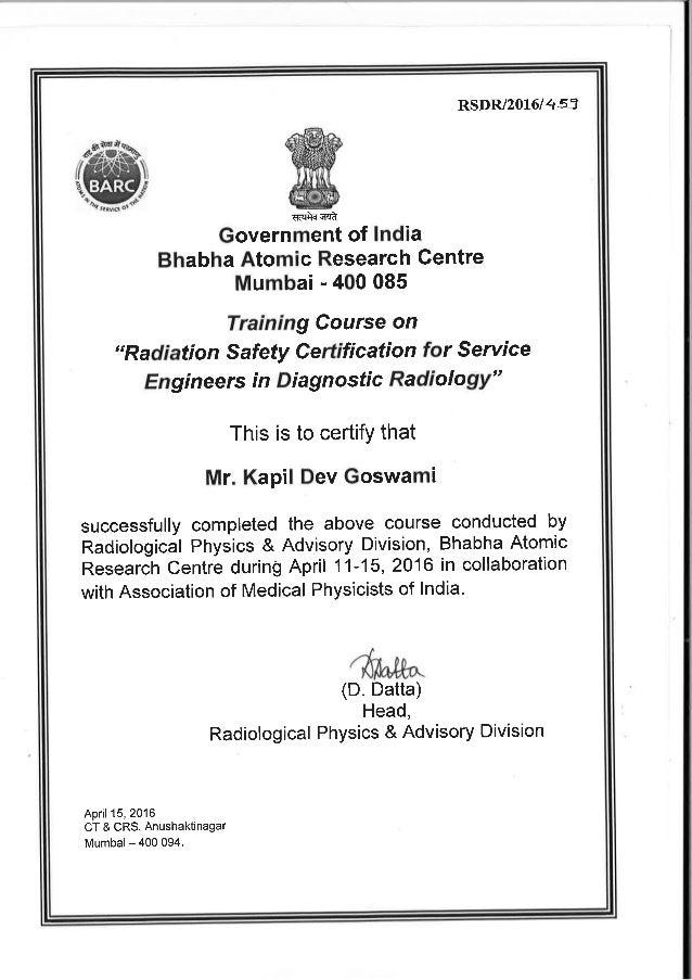 Certificate Scan Copy Kapil Goswami