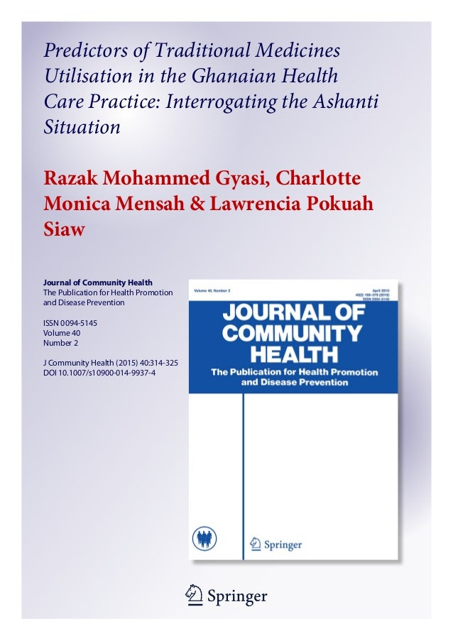 1 23 Journal of Community Health The Publication for Health Promotion and Disease Prevention ISSN 0094-5145 Volume 40 Numb...