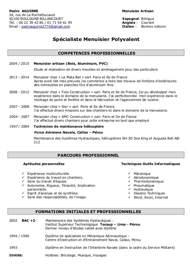 exemple de cv menuisier
