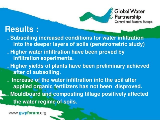 Results : . Subsoiling increased conditions for water infiltration into the deeper layers of soils (penetrometric study) ....