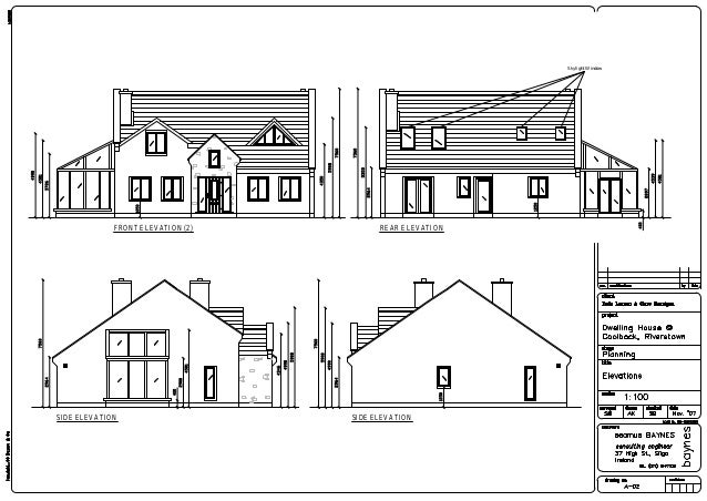 215sqm new build dwelling coolbock riverstown planning for Window elevation