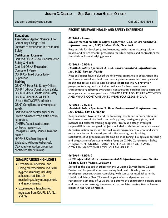 Environmental Health And Safety Resume - nmdnconference.com ...