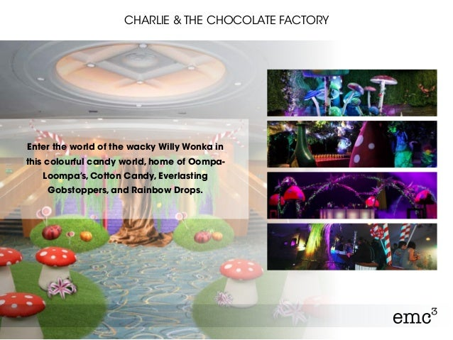 CHARLIE & THE CHOCOLATE FACTORY Enter the world of the wacky Willy Wonka in this colourful candy world, home of Oompa- Loo...