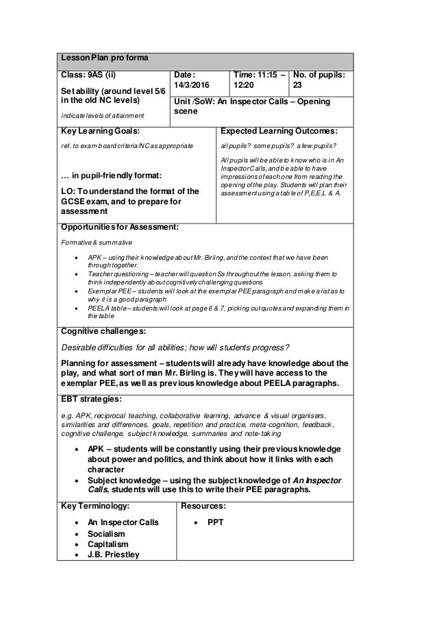 Lesson Plan Pro Forma Class: 9AS (ii) Set Ability (around Level 5 ...