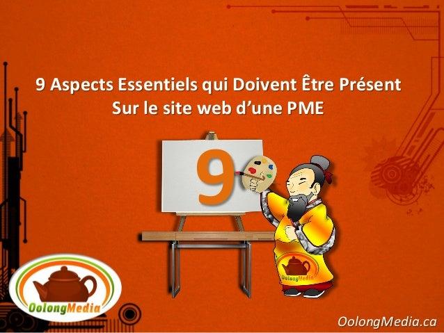 9 Aspects Essentiels qui Doivent Être Présent         Sur le site web d'une PME                   9                       ...