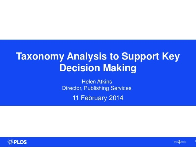 Taxonomy Analysis to Support Key Decision Making Helen Atkins Director, Publishing Services 11 February 2014 1