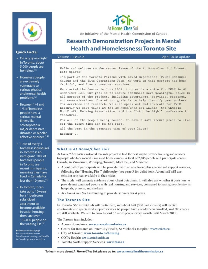 An initiative of the Mental Health Commission of Canada                                           Research Demonstration P...
