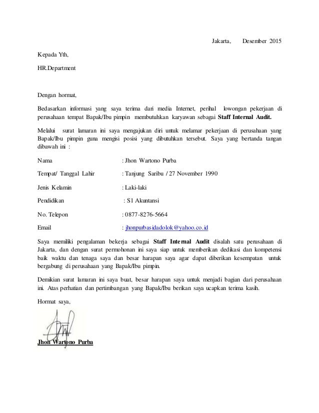 Surat Lamaran Pekerjaan Cv Update