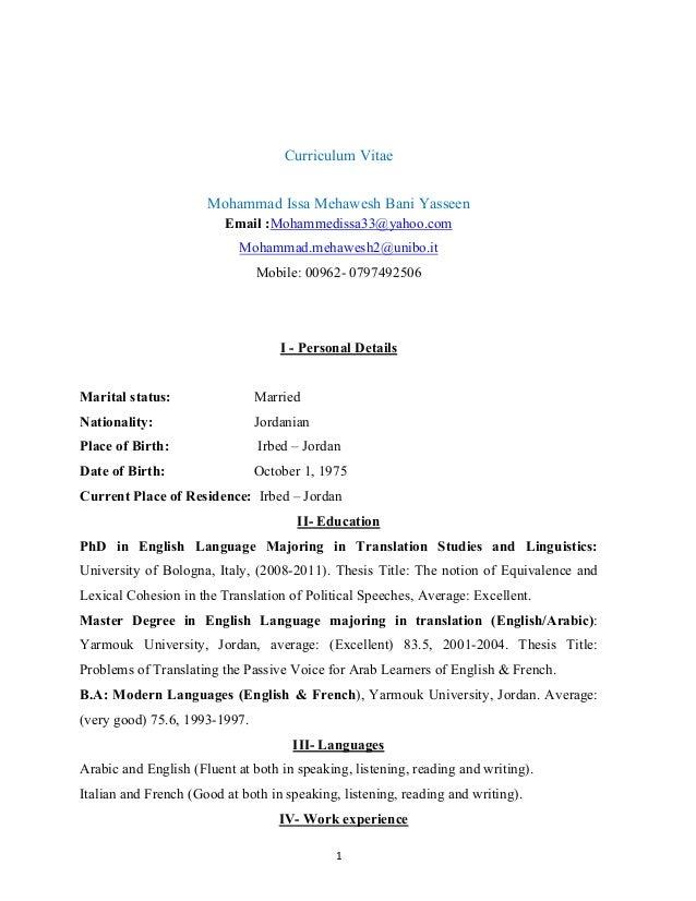 1 Curriculum Vitae Mohammad Issa Mehawesh Bani Yasseen Email :Mohammedissa33@yahoo.com Mohammad.mehawesh2@unibo.it Mobile:...