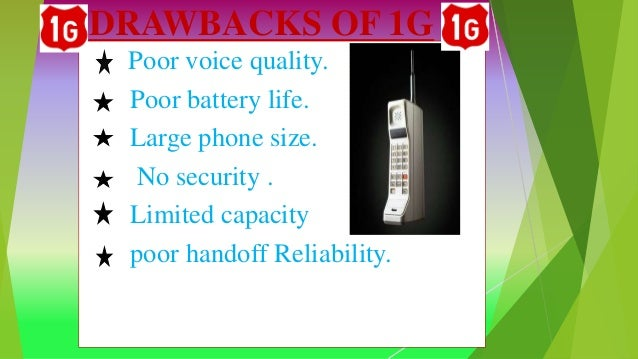 DRAWBACKS OF 1G Poor voice quality. Poor battery life. Large phone size. No security . Limited capacity poor handoff Relia...