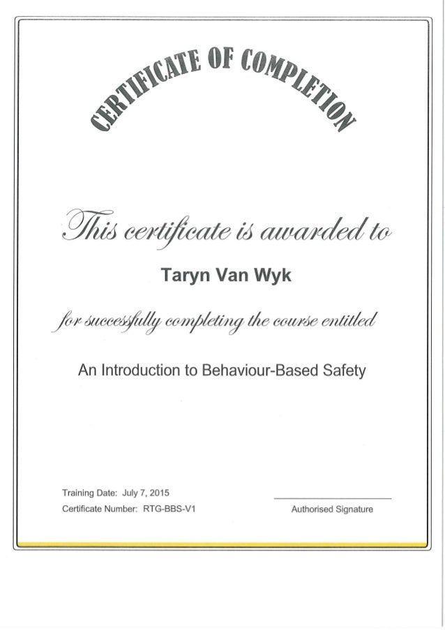 Certificate of Completion - Behaviour-Based Safety