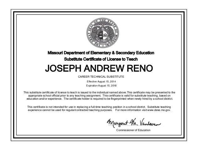 Missouri Substitute Teacher Certificate Joseph Reno