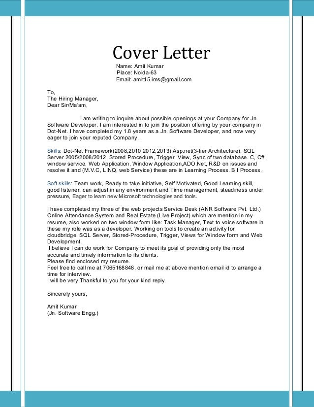 Amit resume dot net for Explore learning cover letter