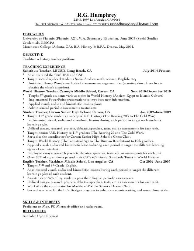 History Teacher Resume