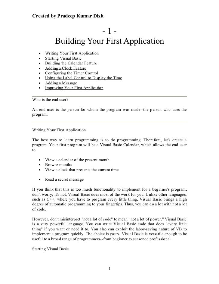 Created by Pradeep Kumar Dixit                         -1-             Building Your First Application   •   Writing Your ...