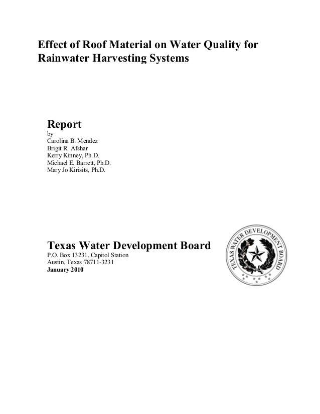 TWDB Report: Effect of Roof Material on Water Quality for Rainwater Harvesting Systems 18 Table 4-12. FC (CFU/100mL) in ha...
