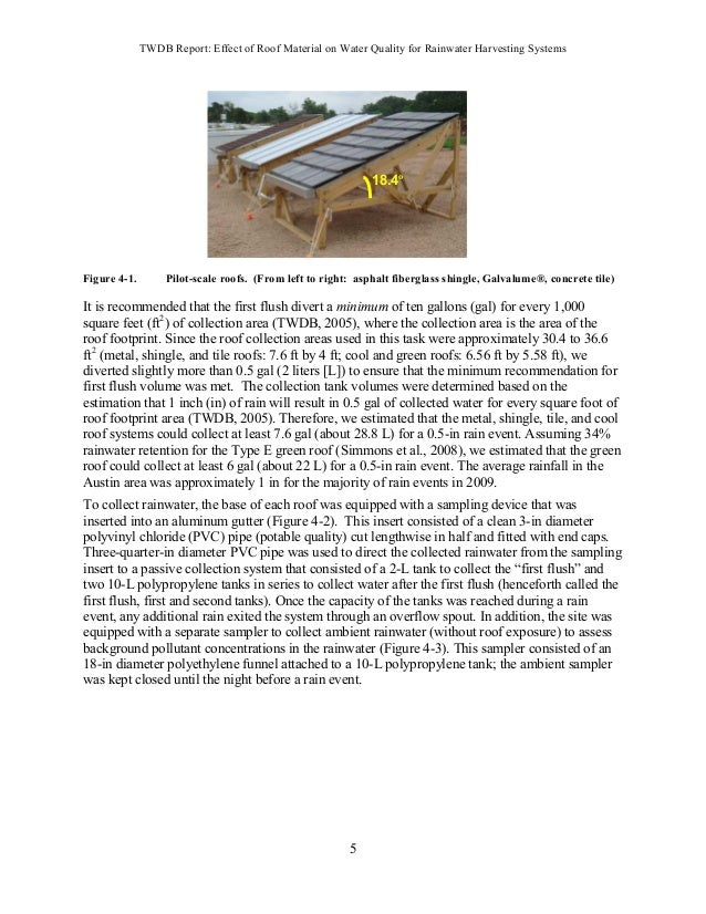 TWDB Report: Effect of Roof Material on Water Quality for Rainwater Harvesting Systems 19 Table 4-13. As ( ) in harvested ...