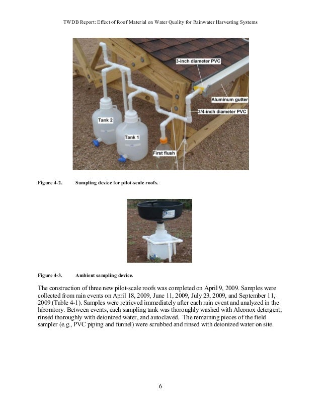 TWDB Report: Effect of Roof Material on Water Quality for Rainwater Harvesting Systems 20 Table 4-17. Pb ( ) in harvested ...