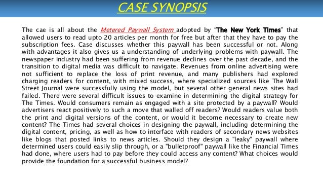 new york times paywall case study hbs The economist case solution & analysis  the economist harvard case study solution and hbr and hbs case analysis  the new york times paywall.