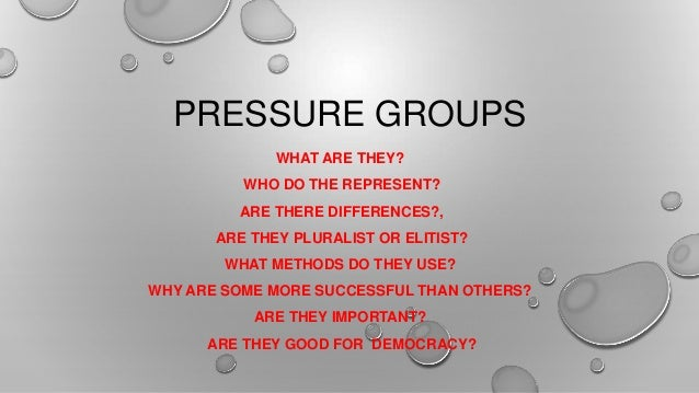 PRESSURE GROUPS WHAT ARE THEY? WHO DO THE REPRESENT? ARE THERE DIFFERENCES?, ARE THEY PLURALIST OR ELITIST? WHAT METHODS D...
