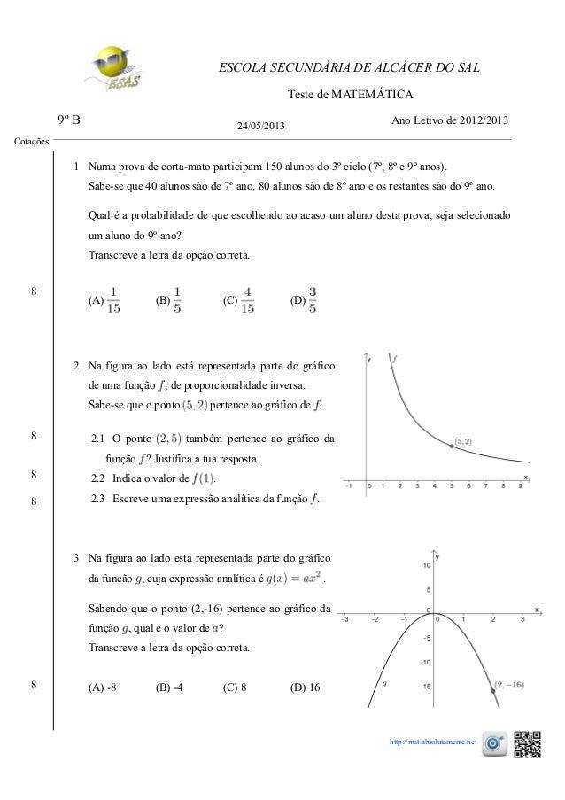 ESCOLA SECUNDÁRIA DE ALCÁCER DO SAL Teste de MATEMÁTICA 9º B 24/05/2013 Ano Letivo de 2012/2013 1 Numa prova de corta-mato...