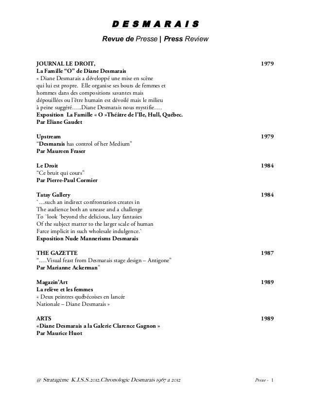 D E S M A R A I S Revue de Presse | Press Review @ Stratagème K.I.S.S.2012.Chronologie Desmarais 1967 a 2012 Presse - 1  ...