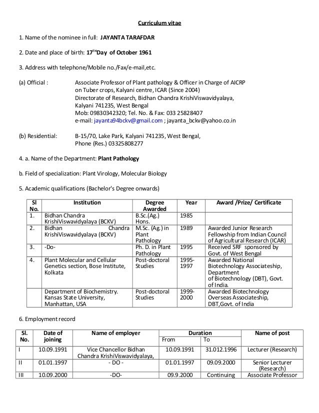 brief cv jayanta tarafdar