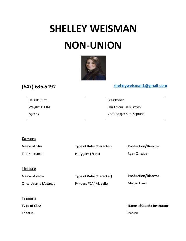 Shelley Weisman Acting Resume Updated