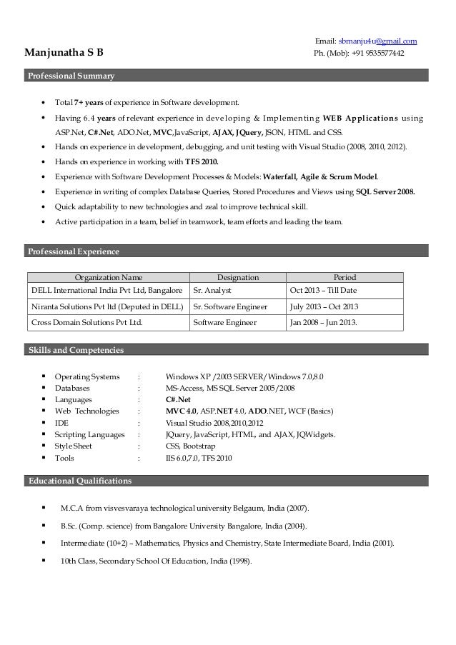 sample resume for 2 years experience in net - manjunatha resume 7 years experience