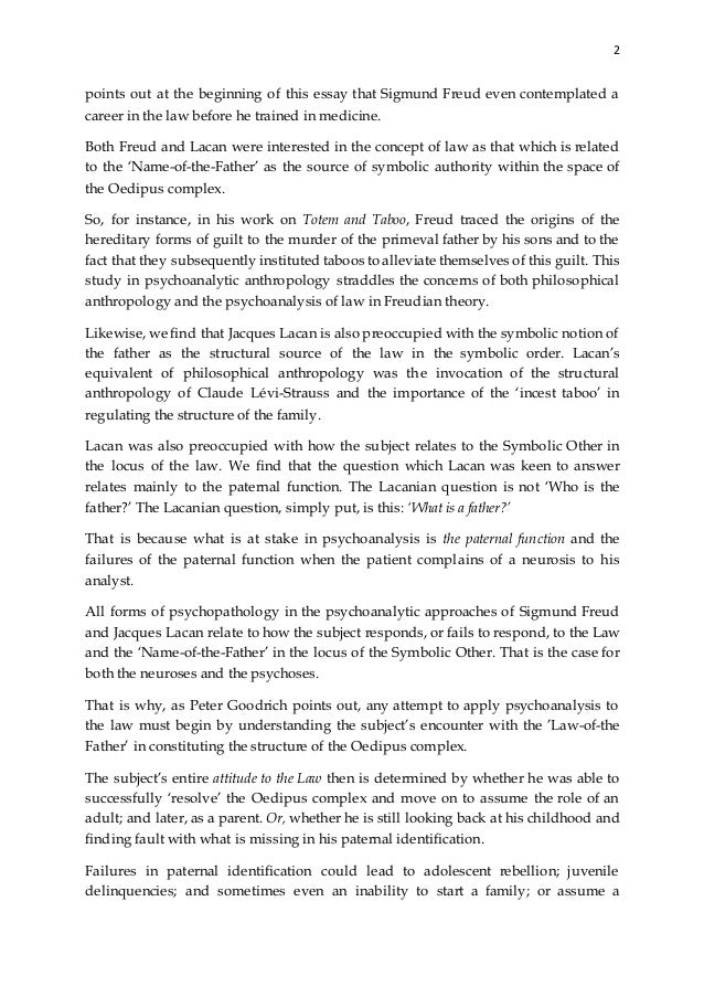 oedipus complex research paper