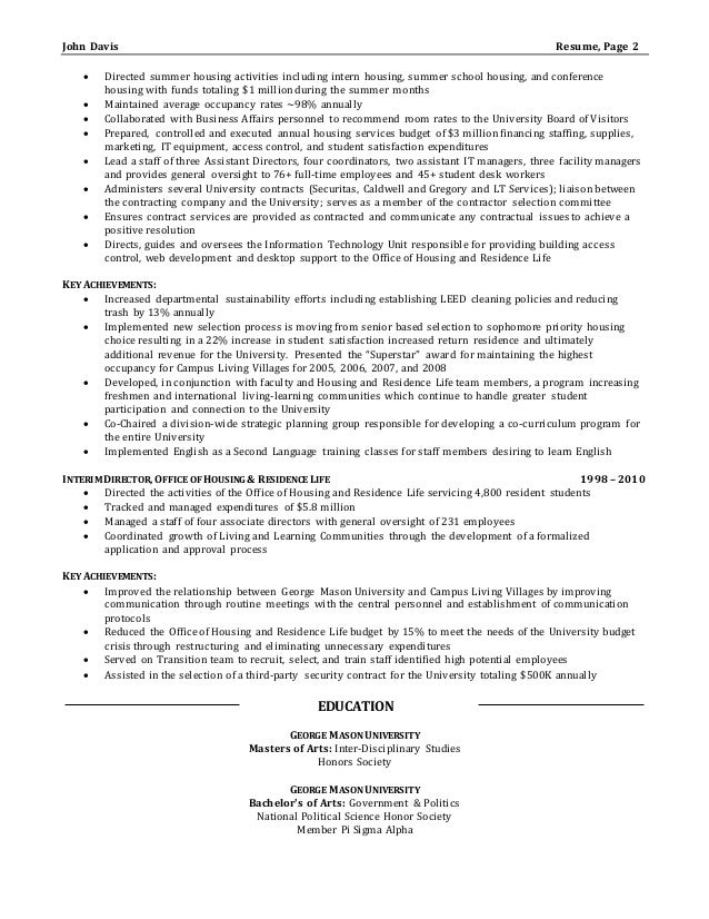 sample director of operations resume